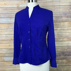 East 5th Med Petite Blue Fitted Blouse w/blck Dots